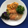 Sesame seared salmon with a lemon zest and soy inspired tahini sauce. Sage and Pinot Grigio roasted butternut squash medallions. Steamed broccoli spears with an orange reduction.